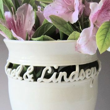 Wedding Vase Anniversary Commitment Ceremony Gift by MaidOfClay