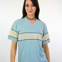 Vintage 90s Grunge Blue Stripe shirt White striped V neck tee