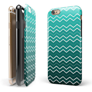 Teal Gradient Layered Chevron 2-Piece Hybrid INK-Fuzed Case for the iPhone 6/6s or 6/6s Plus