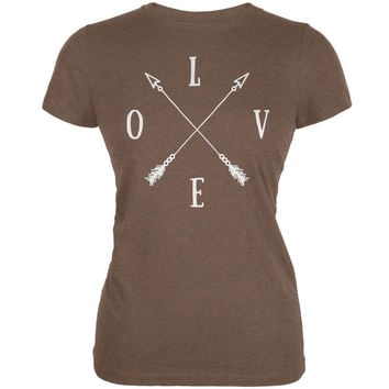 LOVE Tribal Crossed Arrows Heather Brown Juniors Soft T-Shirt