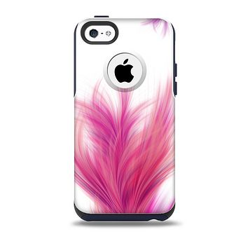 The Abstract Pink Flowing Feather Skin for the iPhone 5c OtterBox Commuter Case