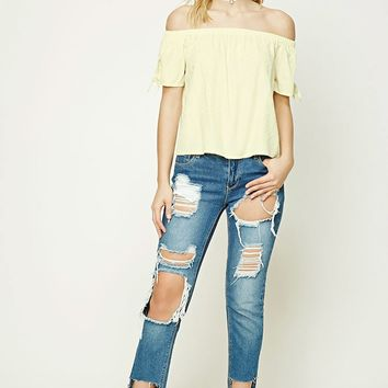 Contemporary Knotted-Sleeve Top