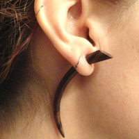 Talon Claw Spike Fake Gauge Earrings Faux Plugs Tapers Organic Carved Wood
