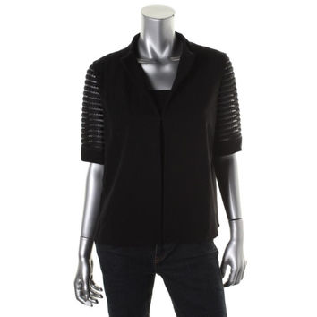 Lafayette 148 Womens Ponte Perforated Cardigan Top