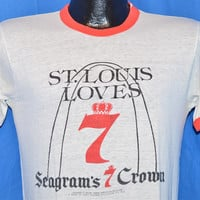 70s St Louis Loves Seagrams 7 Crown White Red Ringer t-shirt Small