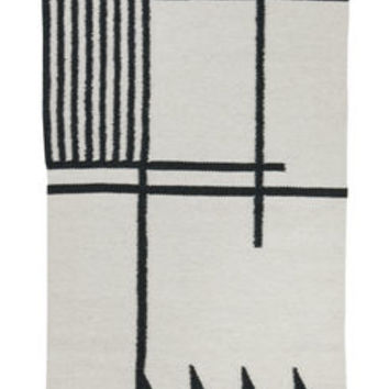Kelim Black Lines - Small Rug - 80 x 140 cm Black & white by Ferm Living
