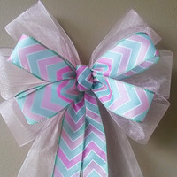 Chevron Baby Shower Bow, Pink and Green Baby Bow, Birth Announcement Bow,  Hospital Door Decoration, Door Decoration Bow