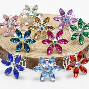 VONG2W 10pcs Rhinestone Leaf Colors Bridal Crystal  Twist Hair Spin Pins Women Fashion Swirl Spiral Hair Jewelry Party Accessories S-26
