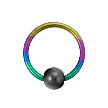 Titanium Ball Closure Ring in Rainbow with Hematite Bead 16 gauge by 5/16""