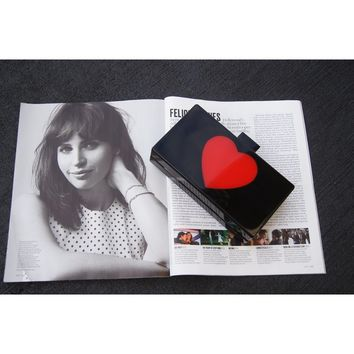 Black Heart Acrylic Clutch