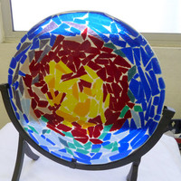 Fire in the Sky Art Glass Plate with Stand