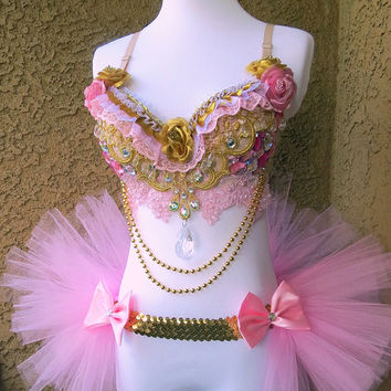 Pink Gold Diamond Princess Rave Outfit - Rave Bra and Half TuTu Bustle EDM Outfit