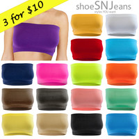 3 FOR $10 NEW Seamless Bandeau Bra Strapless Basic Crop Boob Top Active USA