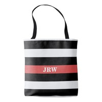 Black White and Red Striped Monogram Tote Bag