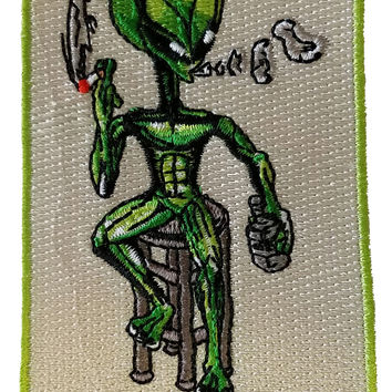 "Alien on Barstool ""We're Not So Different"" - Novelty Iron On Patch Applique HS P - CH - 0002"