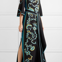 Peter Pilotto - Cold-shoulder embroidered cady gown