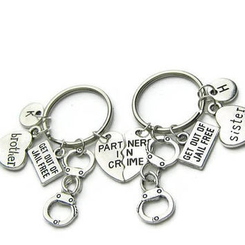 Partners In Crime Brother Sister Keychains, Partners In Crime Brother Keychain,Partners In Crime Sister Keychain,Brother Sister,Personalized