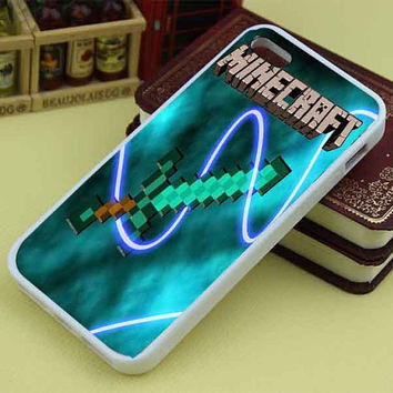 New Minecraft Creeper Sword custom mixcandy for iphone4/4s/5/5s/5c, samsung galaxy s3/s4/s5 and ipod 4/5 case