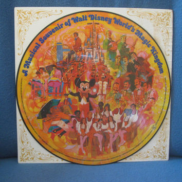 "RARE, Vintage, Walt Disney,""A Musical Souvenir Of Walt Disney World's Magic Kingdom"" Picture Disc, Vinyl LP, Record Album, 1972"