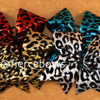 Metallic Cheetah Cheer Bow