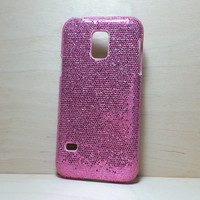 For Samsung Galaxy S5 Mini Dark Pink Glitter Case