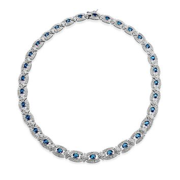 Vintage Style Collar Necklace Blue CZ Simulated Sapphire Silver Plated