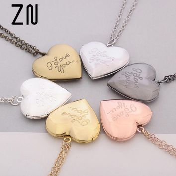 ZN 2018 New 6 Colors DIY Love Heart Secret Locket Necklace Pendant Vintage Gift For Lover Couples Custom mothers day gift
