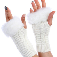 WhiteFaux Fur Knitted Hand Warmers