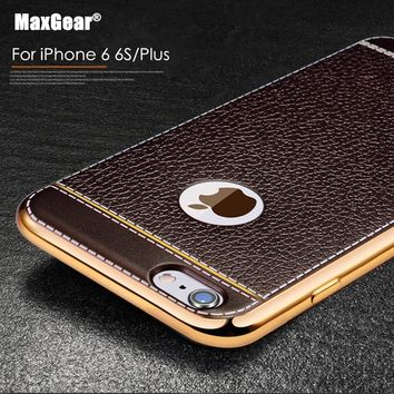 "Capa Ultra Thin Luxury Leather Grain Case For iPhone 7 6 6S 4.7"" 7 6S Plus 8 X Gold Plating TPU Soft Case Cool Phone Back Cover"