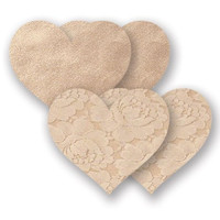 Nippies Creme Heart Waterproof Adhesive Fabric Nipple Cover Pasties Size C