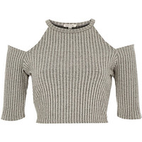 River Island Womens Grey ribbed cold shoulder top