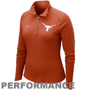 Nike Texas Longhorns Element Quarter-Zip Pullover Performance Long Sleeve T-Shirt - Burnt Orange