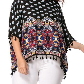 Streetstyle  Casual High-Low Tassel Tribal Printed Batwing Sleeve Plus Size T-Shirt