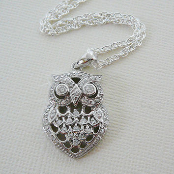 Owl Pendant Necklace, Sterling Silver, 24 inch Long Chain Cubic Zirconia Bling Wise Bird