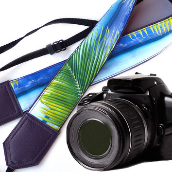 Purple camera strap.  Sea Camera Strap. Beach camera strap. DSLR / SLR Camera Strap. For Sony, canon, nikon, panasonic, fuji and other cameras.