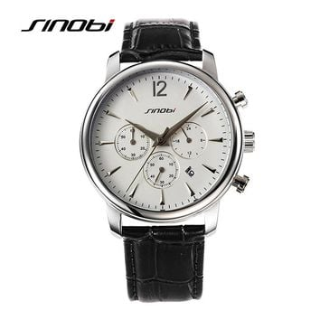 SINOBI luxury brand men sports quartz leather waterproof leisure watch