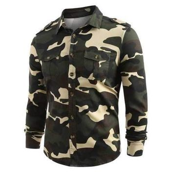 Front Pocket Button Up Camo Shirt - Acu Camouflage M
