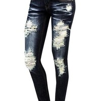 DARK DENIM DESTRUCTED SKINNY JEANS