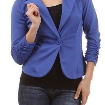 Women Slim Fit Candy Color One Button Suit Blazer Coat Jacket Plus Size XL-3XL
