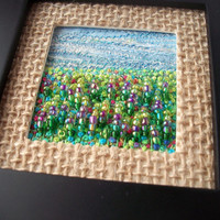 "Framed embroidered and beaded needlework art - Summer meadow - fabric & fibre landscape - fibre art - 4"" square frame - framed textile art"