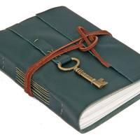 Green Leather Wrap Journal with Lined Paper and Key Bookmark - Ready to Ship