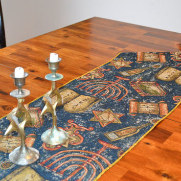 """Table Runner of Tapestry, Shabbat or Jewish Holidays, Jewish table decor, 70"""" long with 4"""" tassels"""