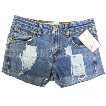 High Waist Jean Shorts Vintage Levi Wrangler Shredded Low Rise Ripped Destroyed Size Xs/S/M/L/Xl/Xxl