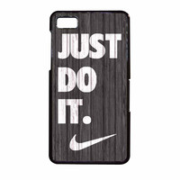 Nike Just Do It Wood Colored Darkwood Wooden BlackBerry Z10 Case