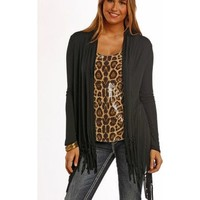 Panhandle Slim Women's Black Fringe Draped Cardigan