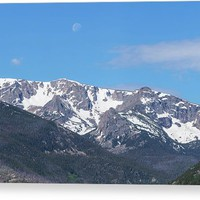 Rocky Mountain Waning Gibbous Moon Set Canvas Print