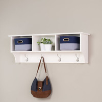Entryway Shelf with Hooks White Wood Cubbie Storage Coat Hat Hanger Wall Mount