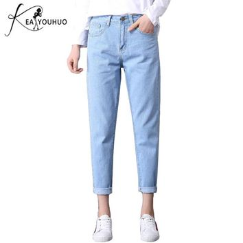2019  Winter Solid Wash Boyfriend Female High Waist Jeans For Pencil Pants Denim Jeans Mom Long Pants Woman Plus Size 25-34