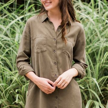 Thread And Supply Better Days Dress In Olive