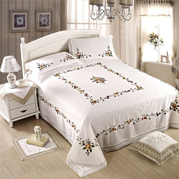 High quality outlet bed sheet kit embroidered Europe and American style 3pcs one flat sheet +two pillowcases white bedspread